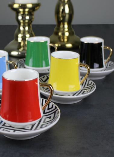 Akayev Versace Dekor 6'lı Porselen Kahve Takımı Renkli